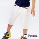 PUKU藍色企鵝 百搭素面鬆緊皮標五分褲