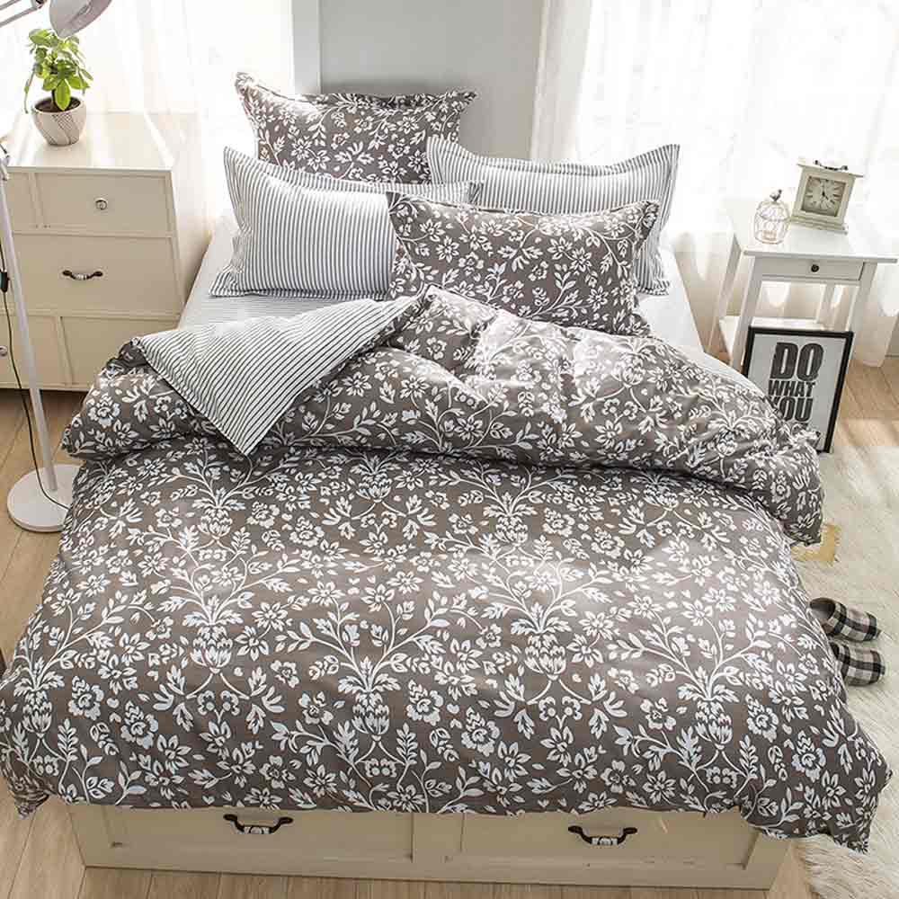 Ania Casa    台灣製 超厚美肌磨毛 - 加大床包被套四件組- 流年