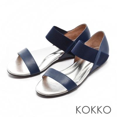 KOKKO經典手工-不敗線條真皮內增高懶人涼鞋-藍