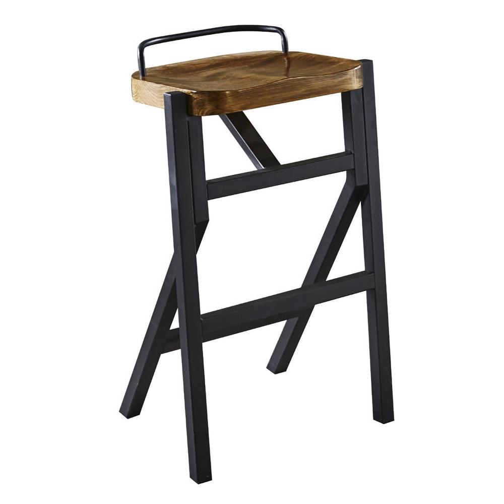 AT HOME-工業風設計方形實木椅墊吧台椅(44*35*76cm)
