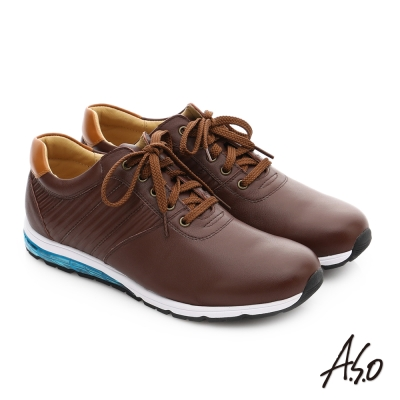 A.S.O 輕旅健步 真皮抗震奈米綁帶休閒鞋 咖啡色