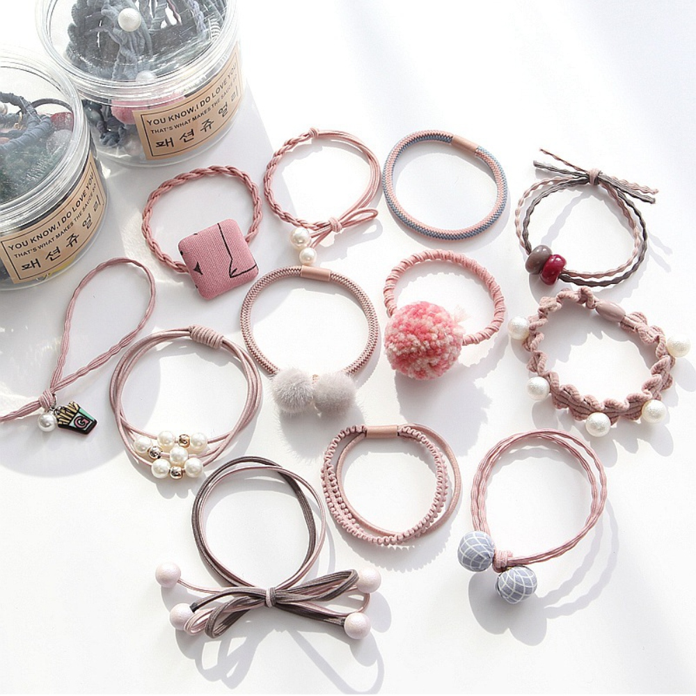 Hera 赫拉 毛球珍珠罐裝12入髮圈