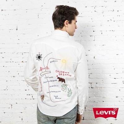 男款BARSTOW刺繡牛仔長袖襯衫-白色-Levi