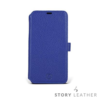 STORYLEATHER iPhone X 硬殼式側翻 荔枝紋電光藍現貨皮套