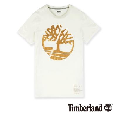 Timberland 七武士系列男款白色正面品牌標誌 T 恤