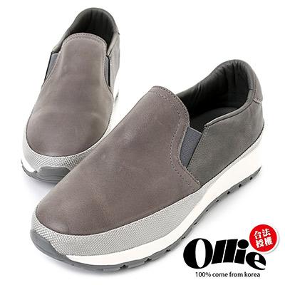 Ollie韓國空運-正韓製仿舊皮革拼接織帶增高鞋-灰
