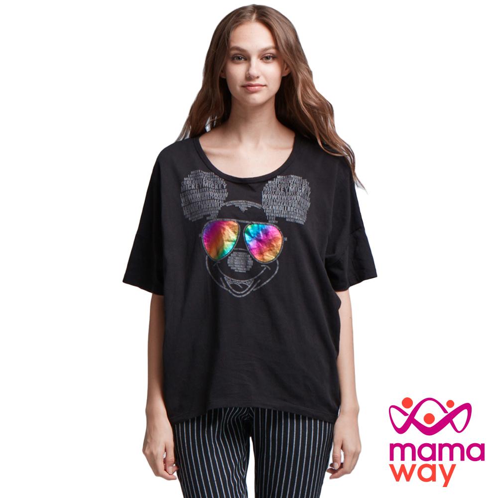孕婦裝 哺乳衣 迪士尼炫彩眼鏡米奇罩衫 Mamaway