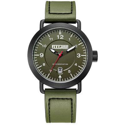 Jeep Spirit  暗夜潛行休閒皮帶錶-黑框綠x軍綠色/46mm