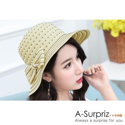 A-Surpriz 淡雅花紋蝴蝶結遮陽帽(米)