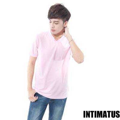 INTIMATUS 簡約柔棉粉色v領短T