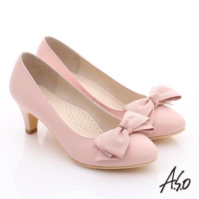 A.S.O 氣質名媛 全真皮雙蝴蝶結甜美高跟鞋 粉紅