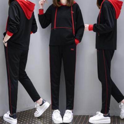中大尺碼紅色連帽配色抽繩上衣加紅色邊條哈倫褲套裝XL~4L-Ballet Dolly