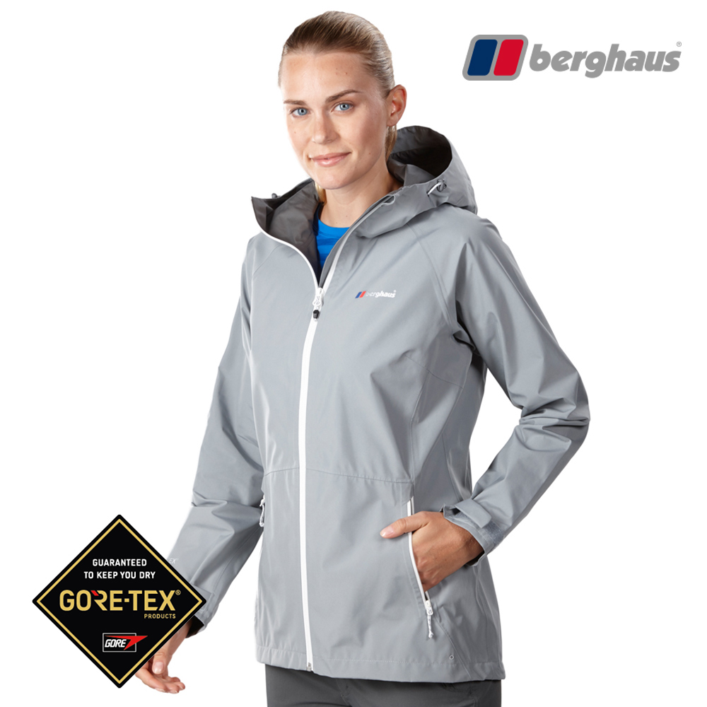 【Berghaus貝豪斯】女款GT輕量防水透氣連帽外套H22FS8石灰