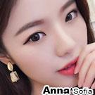 【2件399】AnnaSofia 波浪圓橢仿琥珀垂墬 925銀針耳針耳環(金系)