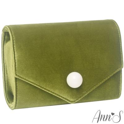 Ann'S時髦貴氣天鵝絨圓球信封包-抹茶綠