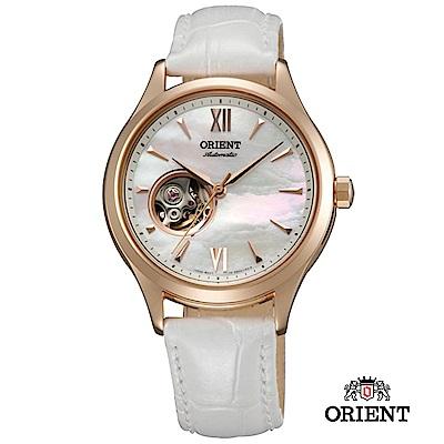 ORIENT 東方錶 ELEGANT系列 優雅小鏤空機械錶 皮帶款 白色