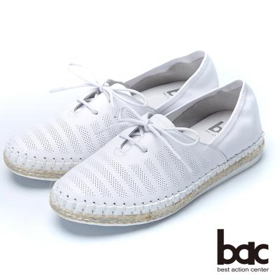 bac樂活時尚 牛皮綁帶休閒鞋-白