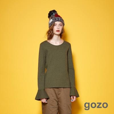 gozo 簡約風潮喇叭袖型素面造型上衣(二色)