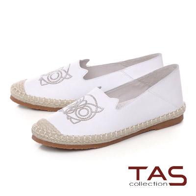 TAS 貓頭鷹燙鑽麻繩踩腳樂福鞋-清感白