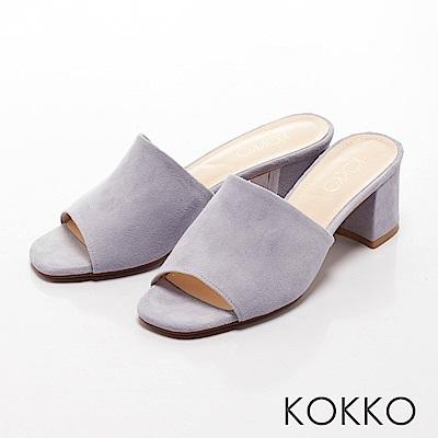 KOKKO - 優雅復古方頭高跟涼拖鞋-紫外光
