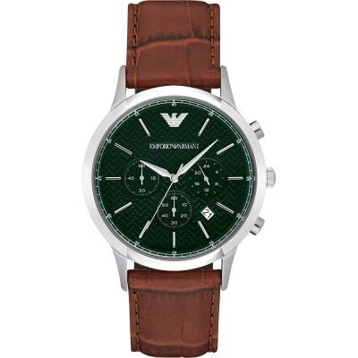 Emporio Armani Classic 都會新貴計時腕錶-綠x咖啡/43mm
