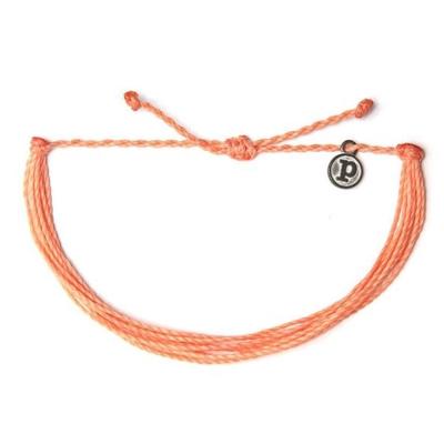 Pura Vida 美國手工 SOLID PEACH蜜桃橘色系可調式手鍊衝浪海灘防水手繩