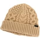 BURBERRY 駝色麻花織紋反摺羊毛帽(73%WOOL)