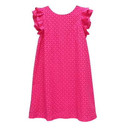 Ralph Lauren 女童簍空刺繡連身裙洋裝-桃紅色-(12歲)