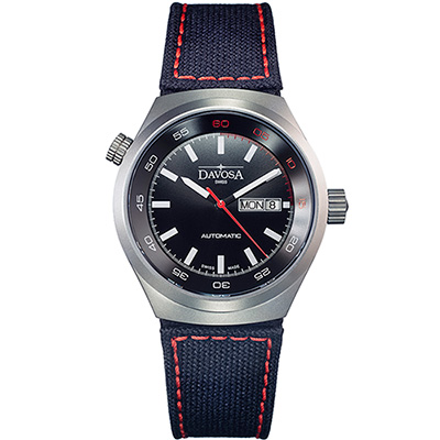 DAVOSA Trailmaster 冒險旅遊者雙時區腕錶-黑面/尼龍帶/42mm