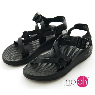 mo.oh-情侶款防水雙條織帶沙灘運動涼鞋-黑