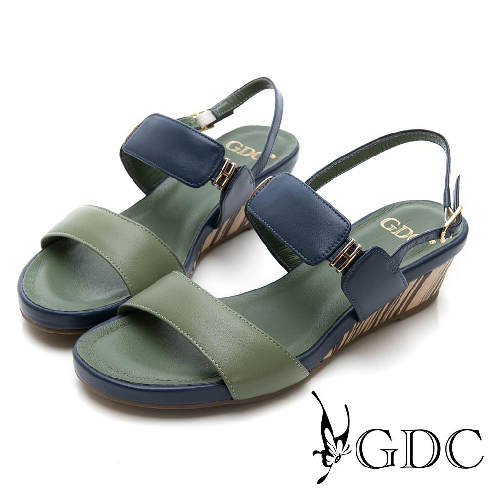 GDC-羊皮春夏撞色質感涼鞋-綠色