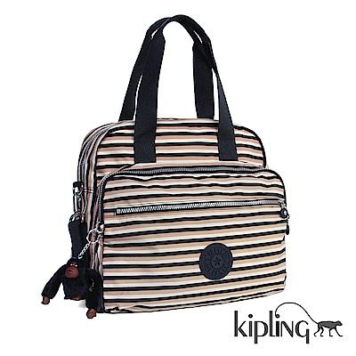 Kipling 斜背包 簡約條紋密橙-大