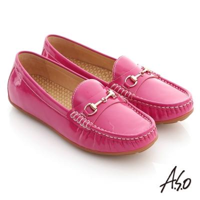 A.S.O 舒壓耐走 全真牛皮金屬釦環莫卡辛平底鞋 桃紅