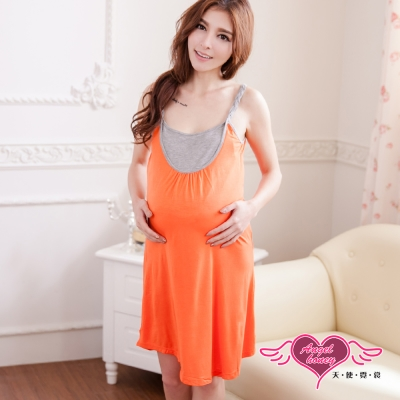 孕婦裝 陽光動人 深色系哺乳衣洋裝(桔F) AngelHoney天使霓裳