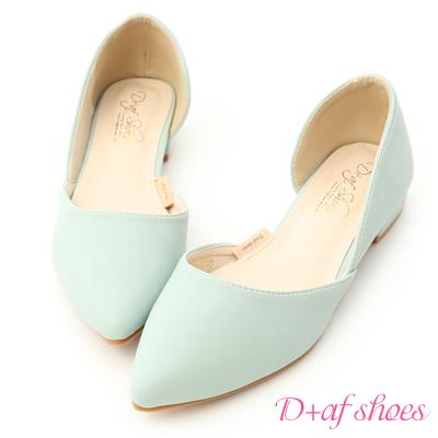 D+AF 粉彩繽紛.素面側挖空尖頭鞋*藍