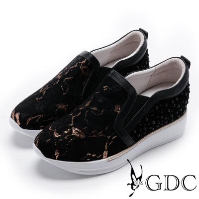 GDC-真皮時尚蕾絲異材拼接休閒鞋-黑色