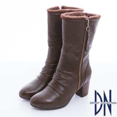 DN 潮流魅力 2WAY質感羊皮絨毛反折個性靴款 咖