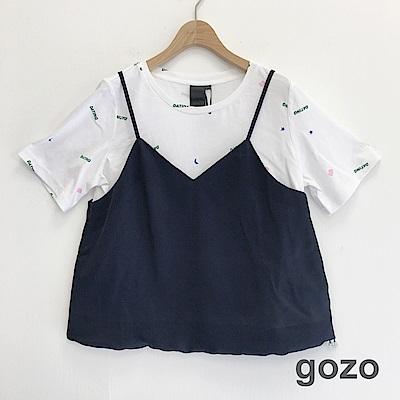 gozo 字母印花反折假二件上衣(二色)
