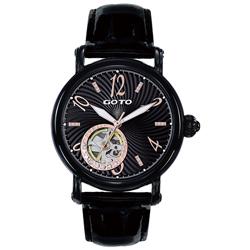 GOTO閃耀的烙印裸空機械時尚腕錶-IP黑x玫/38.5mm