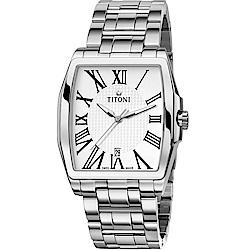 TITONI瑞士梅花錶 華爾街系列 極簡機械腕錶-白/39mm