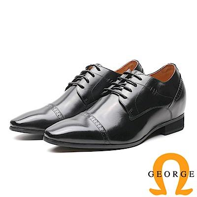 GEORGE 喬治-內增高系列 舒適素面綁帶皮鞋 男鞋-黑
