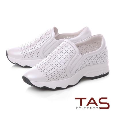 TAS小圓鉚釘牛皮打洞休閒鞋-時尚白