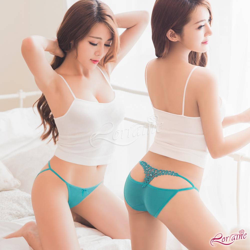 內褲 美臀鏤空造型低腰三角內褲(湖水藍) Lorraine