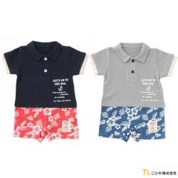 Nishiki 日本株式會社 夏日扶桑花假兩件短袖連身衣包屁衣