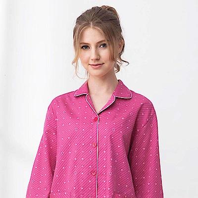 羅絲美睡衣-魔力星鑽長袖褲裝睡衣(莓紅)