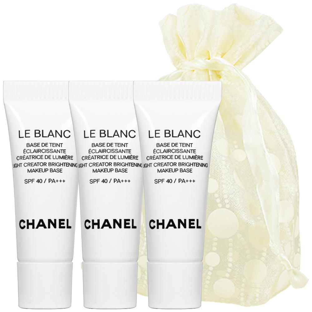 CHANEL 香奈兒 珍珠光感超淨白防護妝前乳(#10)(2.5ml)3入旅行袋組