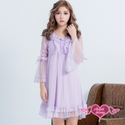 居家睡衣 清秀洋溢 長袖一件式連身氣質層次睡衣(紫F) AngelHoney天使霓裳