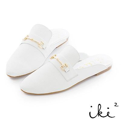 iki2 真皮 金屬扣環穆勒鞋-白