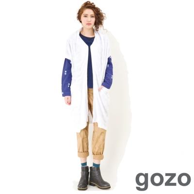 gozo-個性抓皺圖騰長版外套-白色