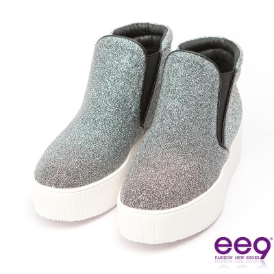 ee9~青春熱力~吸睛Style素面百搭閃亮炫光布休閒鞋*銀色